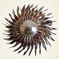 "Big 1940's Retro Sterling Gold Wash ""Sun Burst"" Pin"