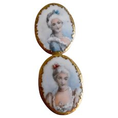 Victorian Era Painted Portrait Porcelain Buttons