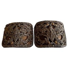 Antique French Copper Color Steel Cut Shoe Buckles