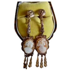 Antique Victorian Gold Plated Carved Cameo Dangle Screw Back Earrings