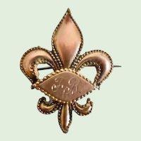 Victorian Gold Plated Fleur De Lis Pin/Watch Holder