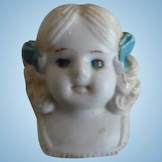 Vintage China Blue Eye Doll Head and Shoulders Signed Japan