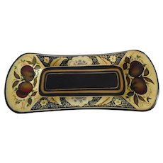 Beautiful Vintage Exquisitely Hand Painted Painted Small Bread Toleware Tray