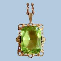 Art Deco Faux Peridot Pendant Necklace