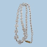 Sparkling Vintage Cut Crystal and Gold Filled Beads Necklace