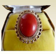 Spectacular Vintage 1960's Red Coral 14K Gold Ring
