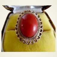 Spectacular Vintage 1960's Red Coral 14K Gold Ring