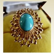 Spectacular Vintage 1960's Persian Turquoise 14K Ring