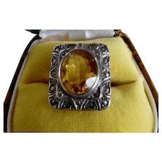 Vintage Art Deco Sterling Faux Topaz Marcasite Ring