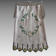 1920's Metal Mesh Enamel Flapper Small Purse