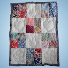 Vintage Hand Made Quilted Doll Bed Quilt 1930's Fabric