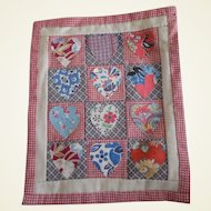 Vintage Hand Made  Doll Bed Quilt 1930's Fabric