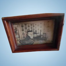 Vintage Doll Tray With Hand Colored Photo Attributed To Nutting Or Thompson