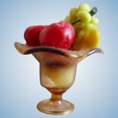 Vintage Hand Blown Miniature Dollhouse Amber Glass Compote And Fruit