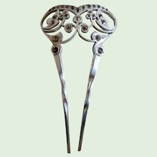 Antique Edwardian Aluminum Paste Hair Comb