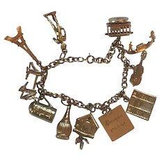 Fabulous Vintage 1950's/60's 14K Travelers Charm Bracelet with 18K 14K And 8k Charms