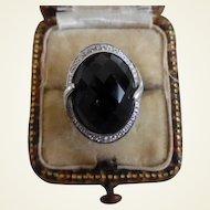 Vintage 10K White Gold & Faceted Black Onyx Ring