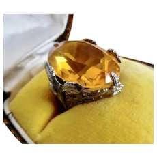 1920's Art Deco Sterling Silver Citrine Paste Ring