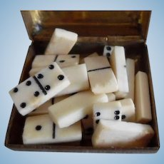 Vintage Dollhouse Miniature Set Of Dominoes In Asian Box