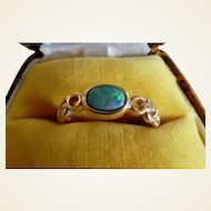 Vintage 14K Gold Australian Black Opal Doublet Ring