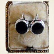 1960's Vintage 10K White Gold Onyx Screw Back Earrings