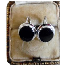 1960's Vintage 10K White Gold Onyx Screw Back Earrings