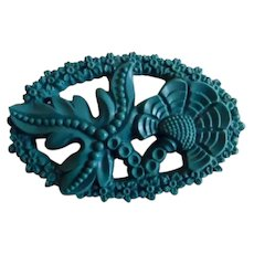 Vintage Aqua Molded Plastic Floral Pin