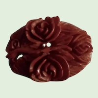 1930's Art Deco Very Finely Carved Cinnamon  Floral Bakelite Pin