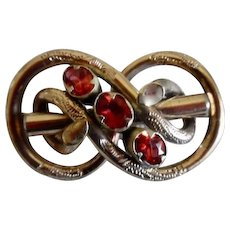 Antique Victorian Rolled Gold Garnet Pin