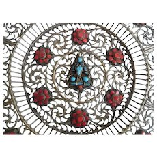 Beautiful Tibetan Brass Filigree Plate With Coral and Turquoise Glass Stones