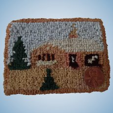 Antique Dollhouse Miniature Hand Hooked Rug