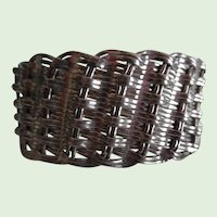 Vintage Sterling Silver Basket Weave Wide Cuff Bracelet