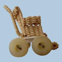 Vintage Dollhouse Miniature Faux Wicker Carriage