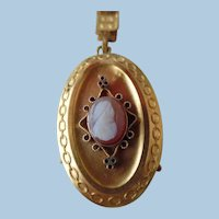 Antique Victorian Gold Plated Carved Cameo Locket Book Chain Necklace
