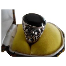 Vintage Cast Sterling Silver Black Onyx Ring with Makers Mark