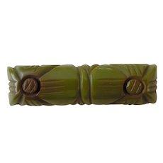 1920-40's Carved Green Bakelite Art Deco Bar Pin