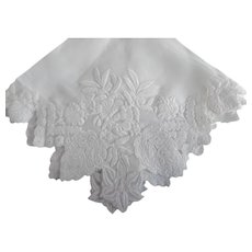 Beautiful Cotton Voile Embroidery Applique' Wedding Hanky