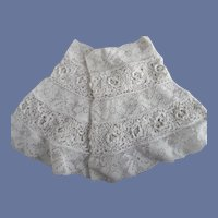 Victorian Pair Of  White Hand Made Irish & Filet Lace Dress Cuffs