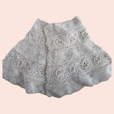 Victorian Pair Of  White Hand Made Irish & Filet Lace Dress Cuffs