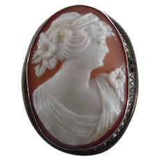Vintage Sterling Carved Shell Cameo Pin