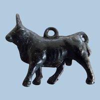 Little Victorian Black Metal Toy Bull Charm
