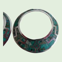 Vintage Sterling Turquoise Inlay Taxco Eagle 3 Earrings