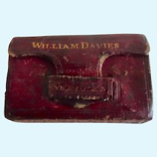 Antique Victorian Little Leather Book Shaped Box For Dollie