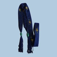 Roaring 1920's Glass Micro Deep Blue Bead Flapper Necklace