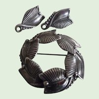 Vintage Danercraft Sterling Pin & Screw Back Earring Set