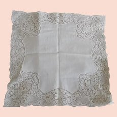 Beautiful Early Cotton Lace Wedding Hanky