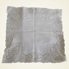 Beautiful Early Cotton Lace Wedding Hanky