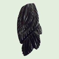 !930-40's Art Deco Deeply Carved Black Bakelite Dress Clip