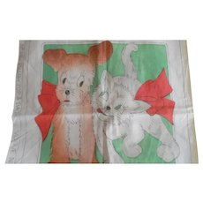 Vintage 1930-40's Vogue Cat & Dog Pillow Cover