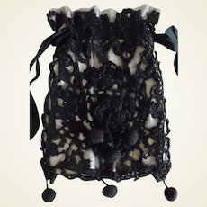 Victorian Black Irish Lace Mourning Purse